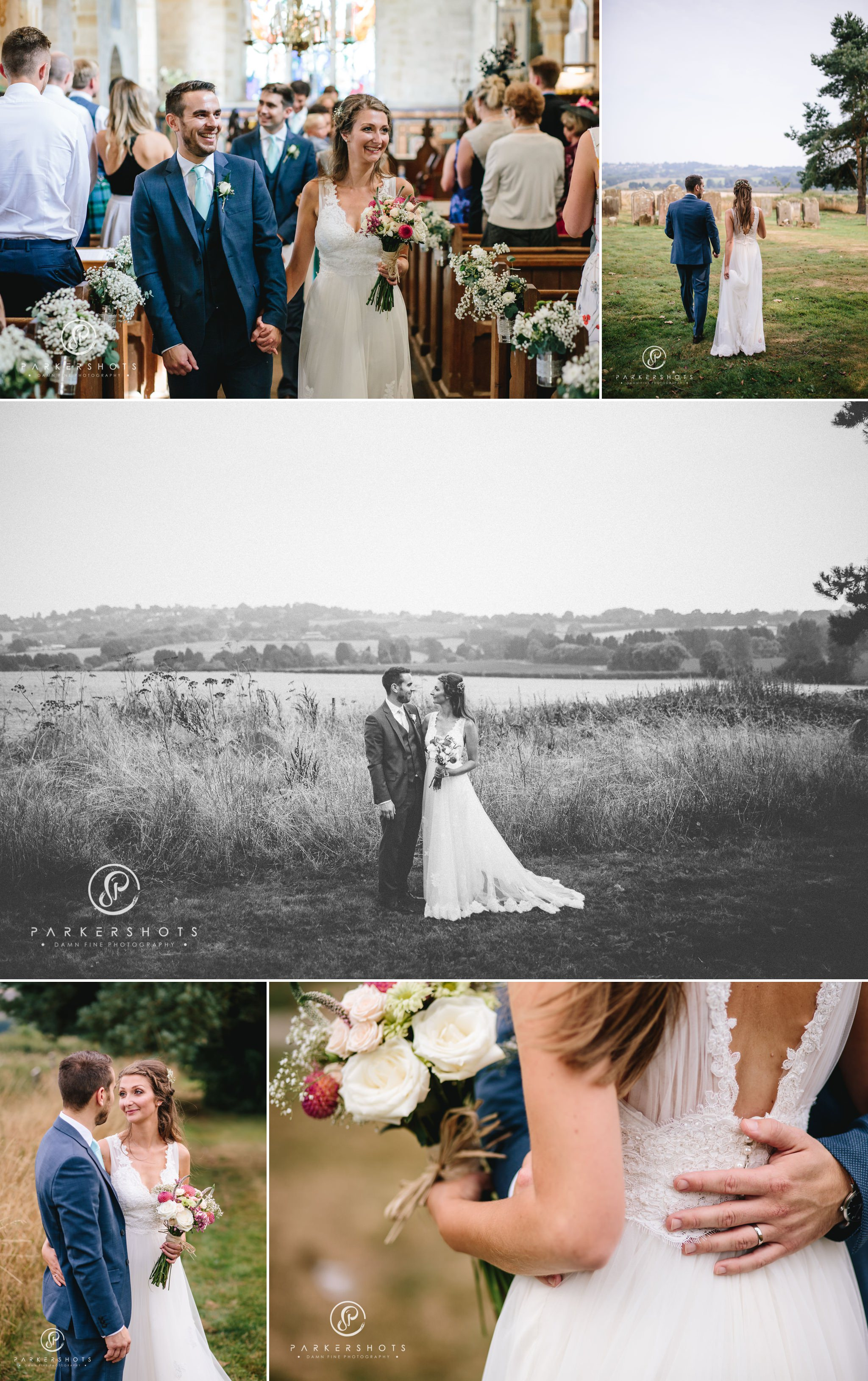 Wedding Photography in field overlooking goudhurst