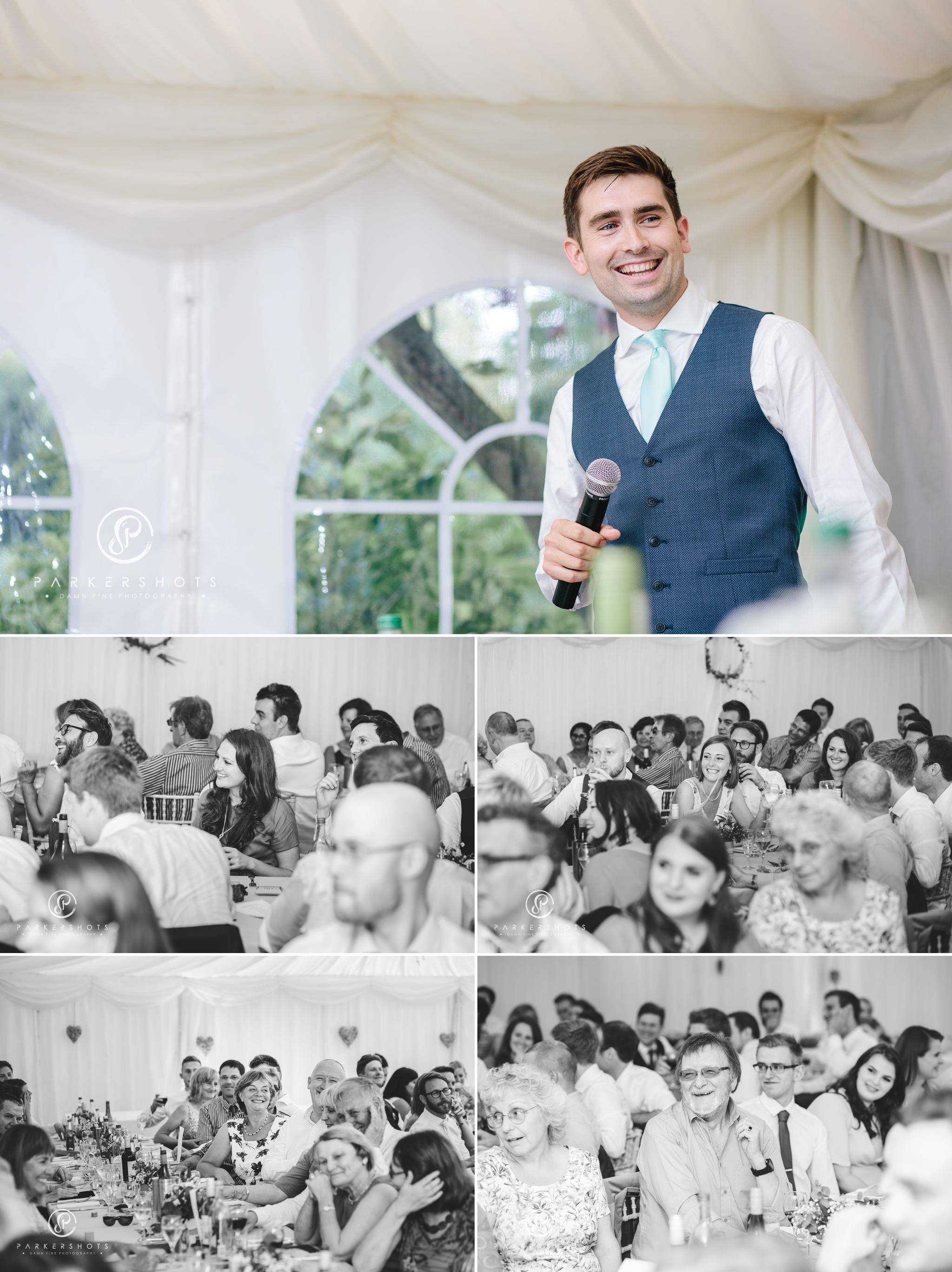 the wedding speeches at relaxed garden wedding in kent
