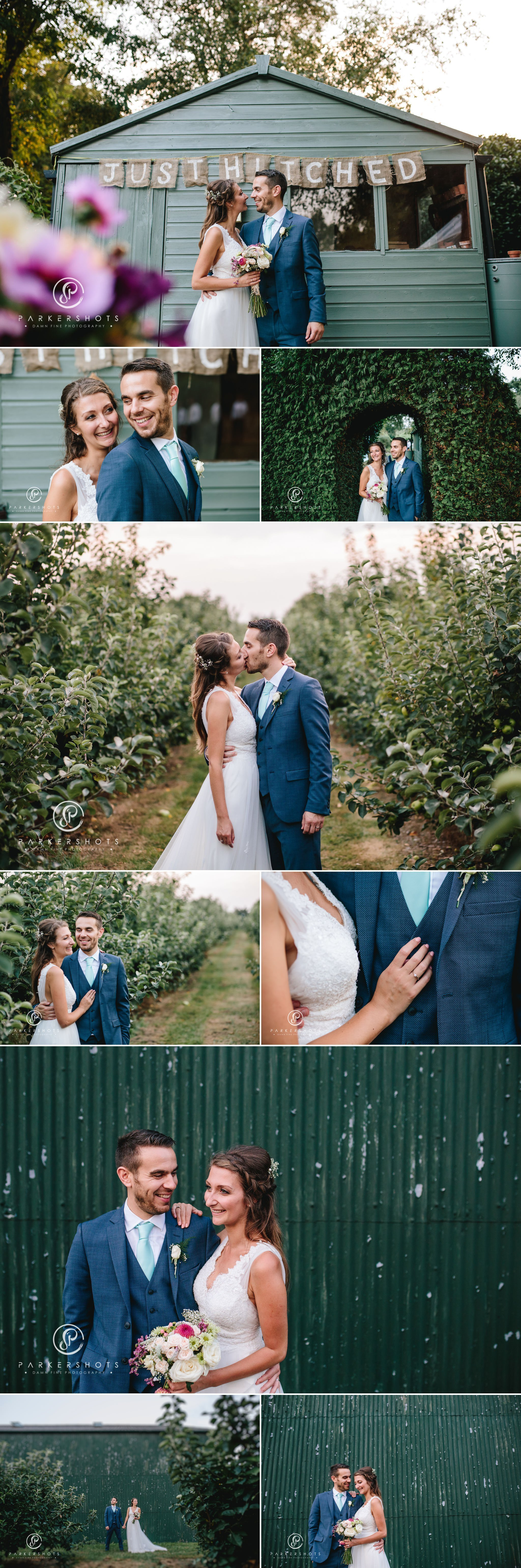 portraits of bride and groom in orchard in kent