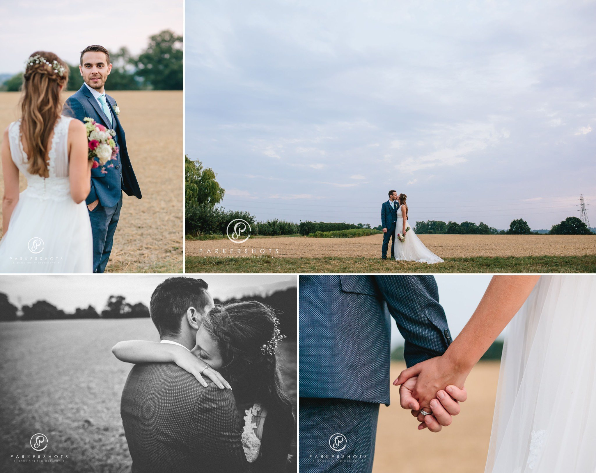 Wedding photography in field in Kent