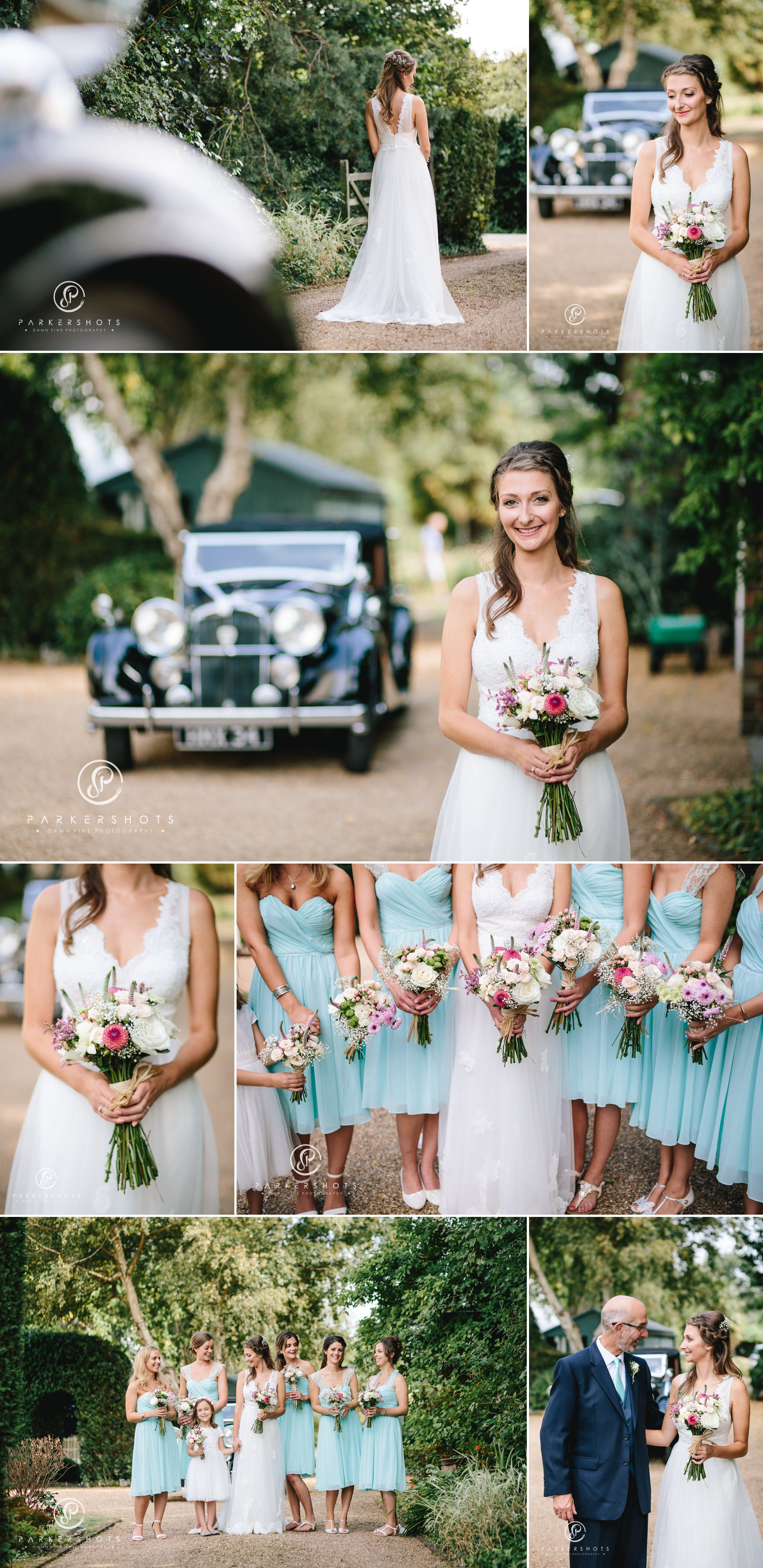 Portrait of bride and car from wedding in Kent