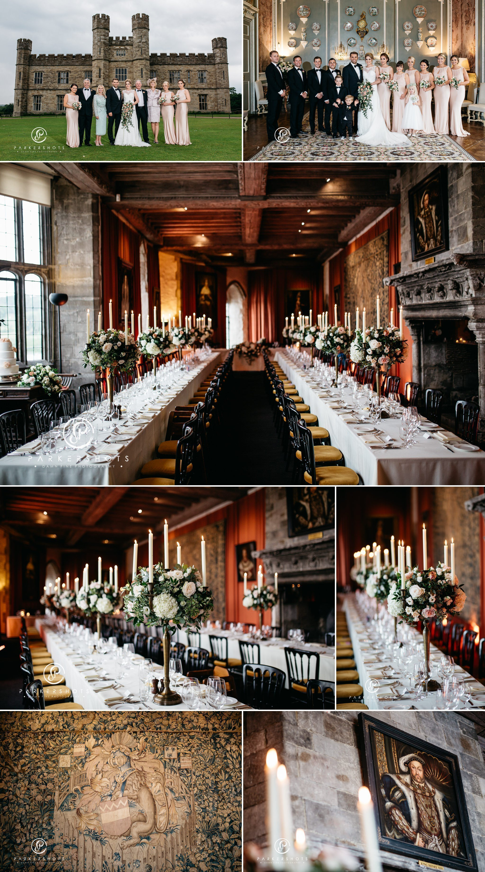 Wedding breakfast room at Leeds Castle