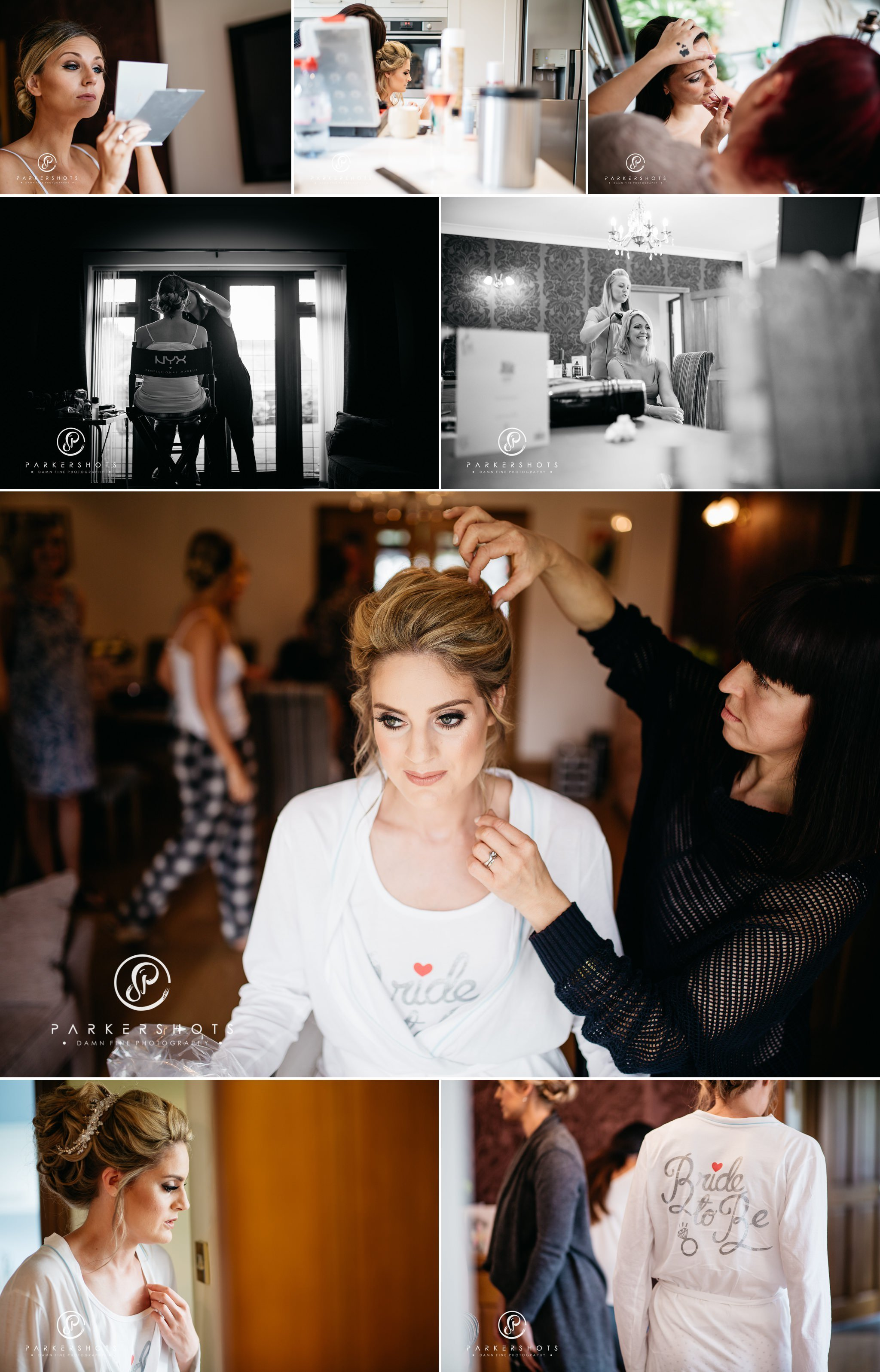 Photography of bridal prep for wedding at Leeds Castle