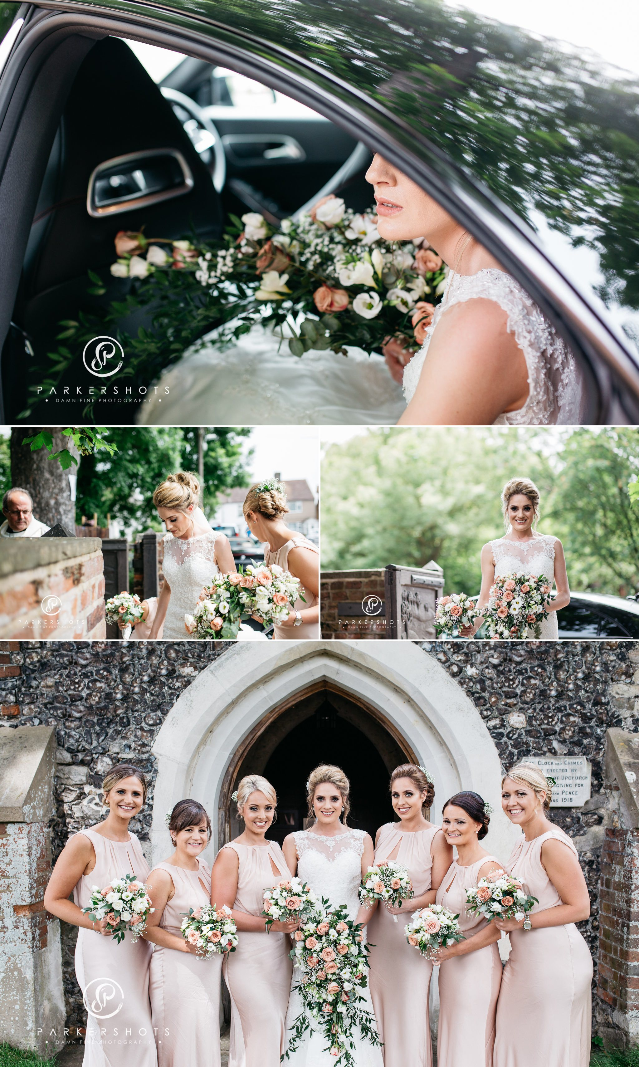 Bride and Bridesmaids at church by kent wedding photographer