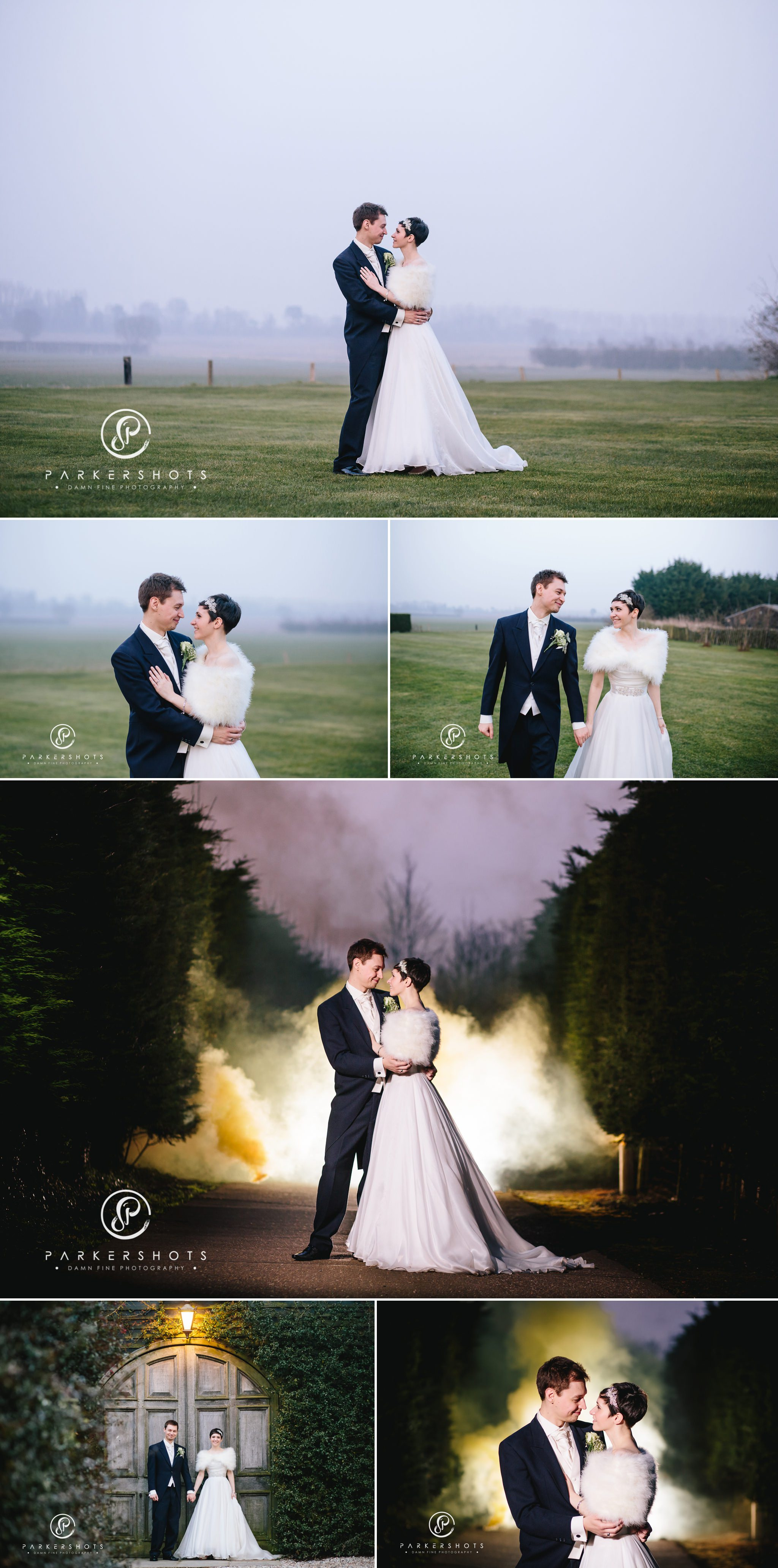Portraits of bride and groom at Winters Barns in mist