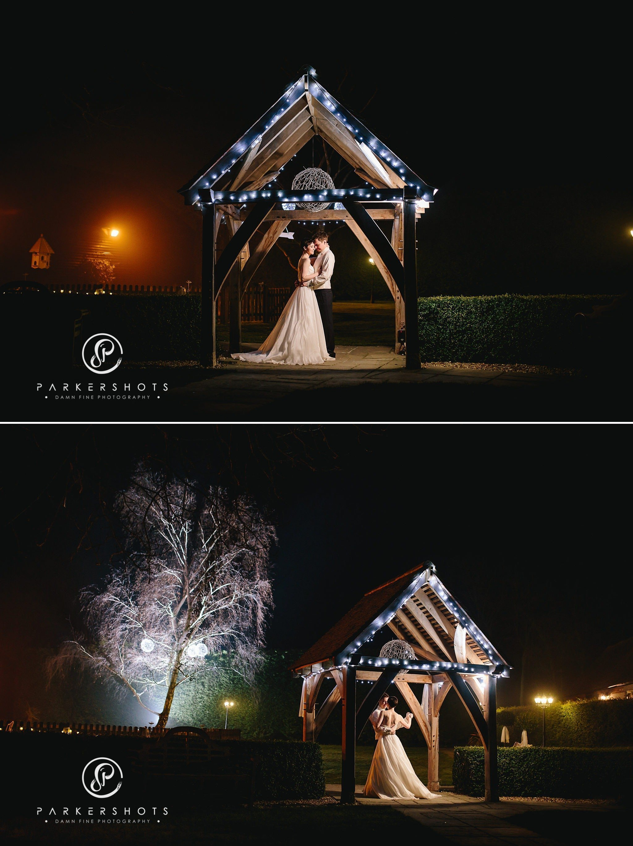 Night portraits of bride and groom at Winters Barns