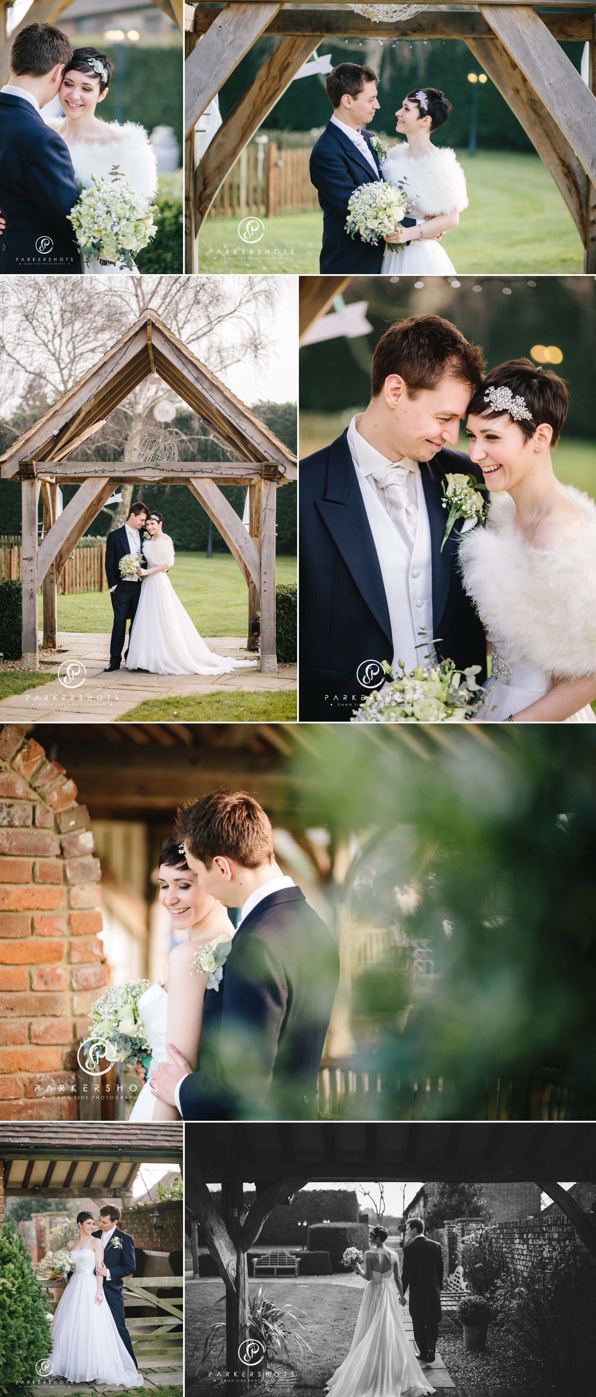 Portraits of bride and groom at Winters Barns