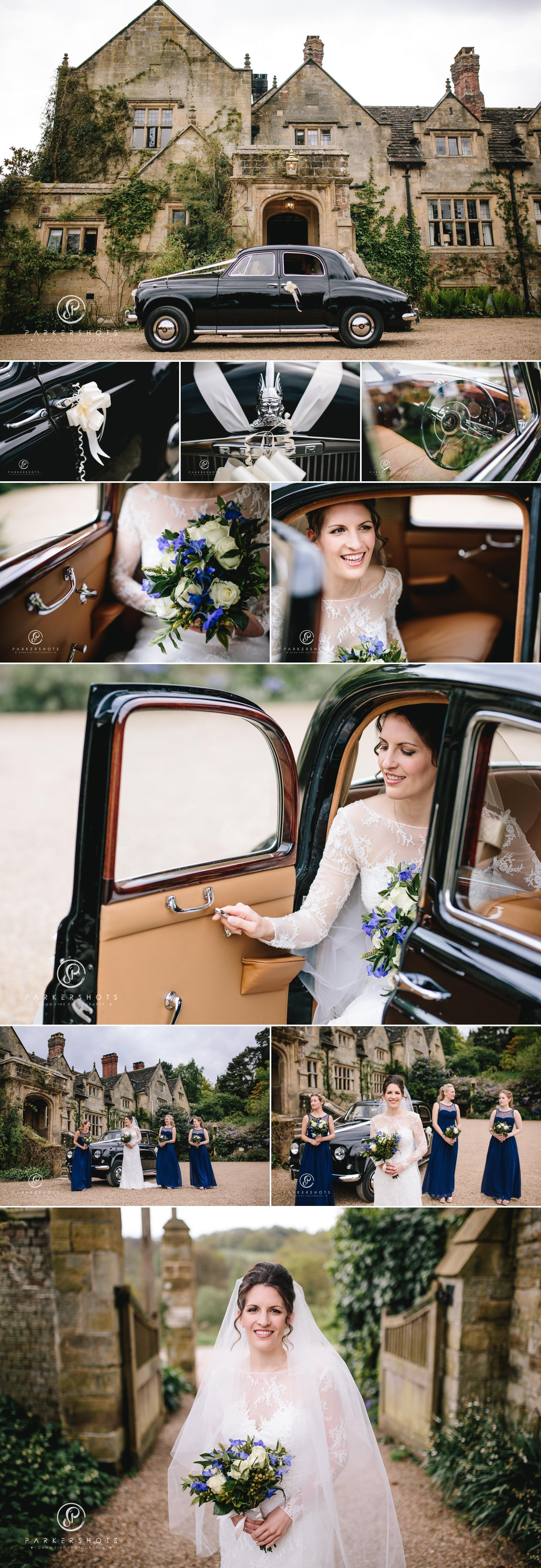 The bride's arrival for wedding at Gravetye Manor