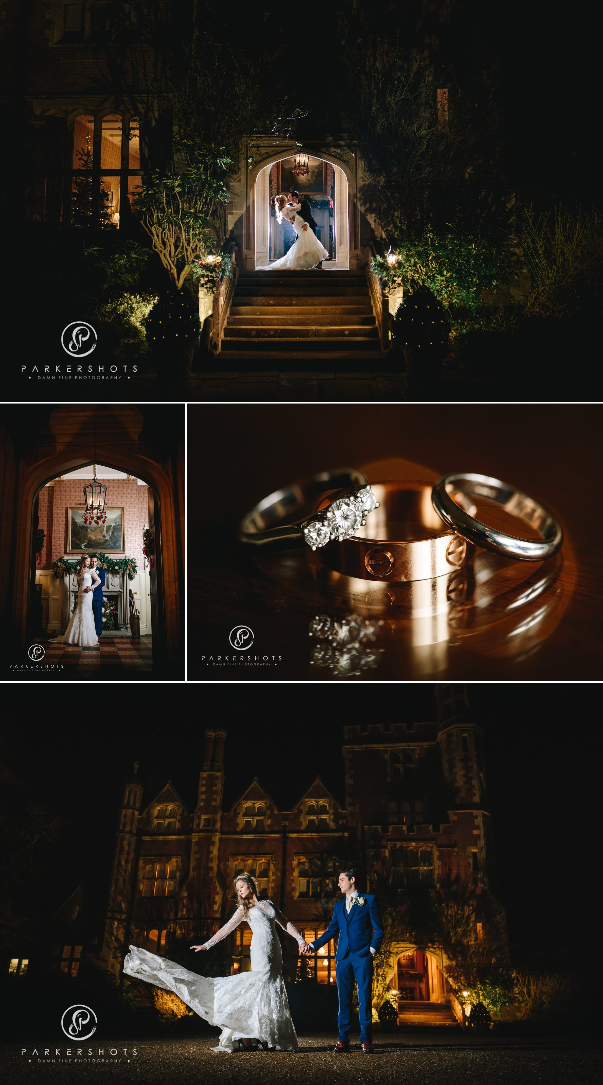 Night portraits of bride and groom at Horsted Place