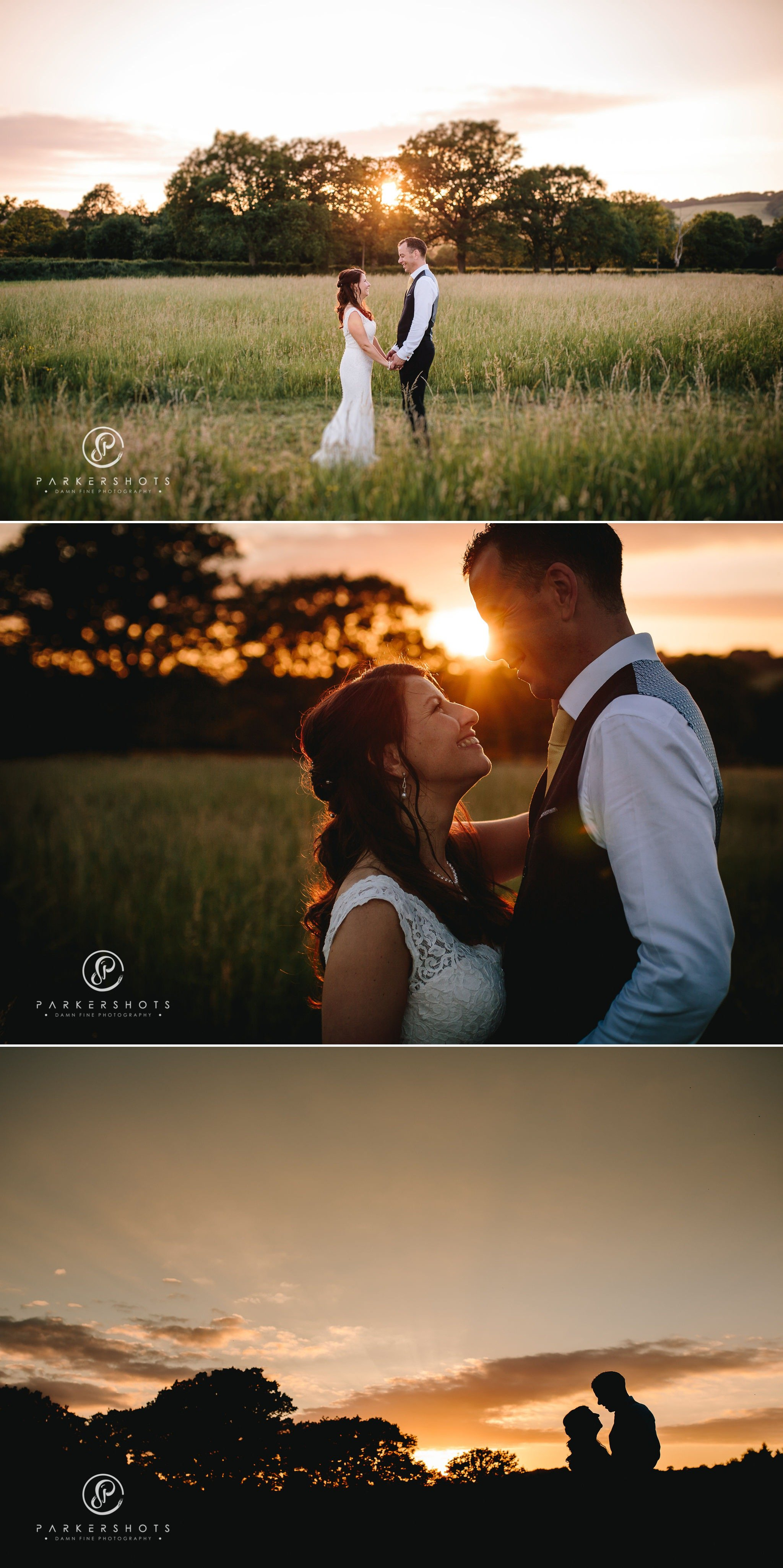 Sunset wedding photography at Chafford Park