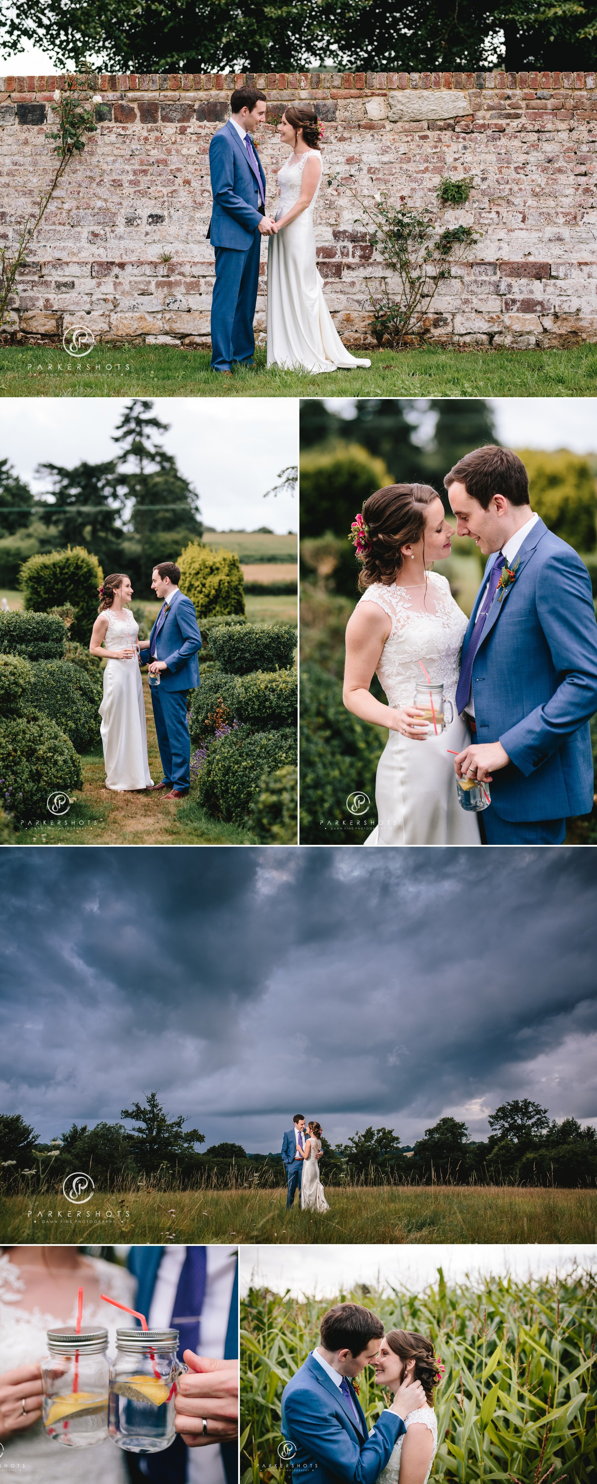 Portraits of bride and groom at Chafford Park