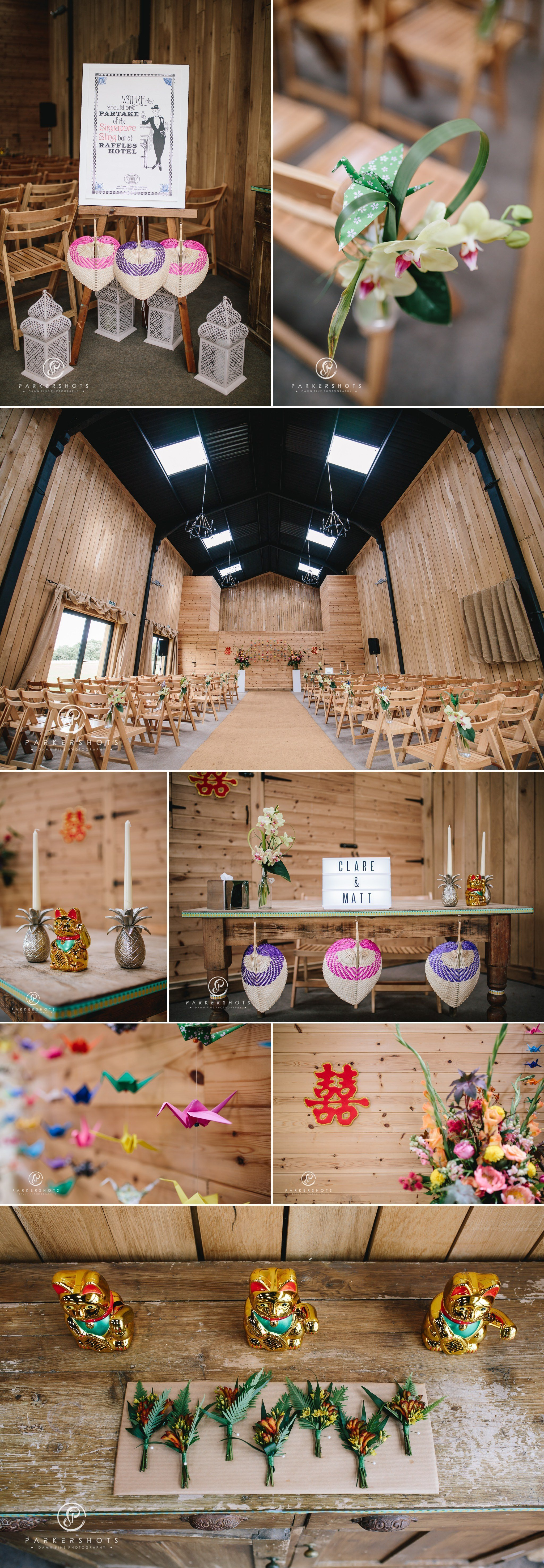 The ceremony barn at Chafford Park ready for a wedding
