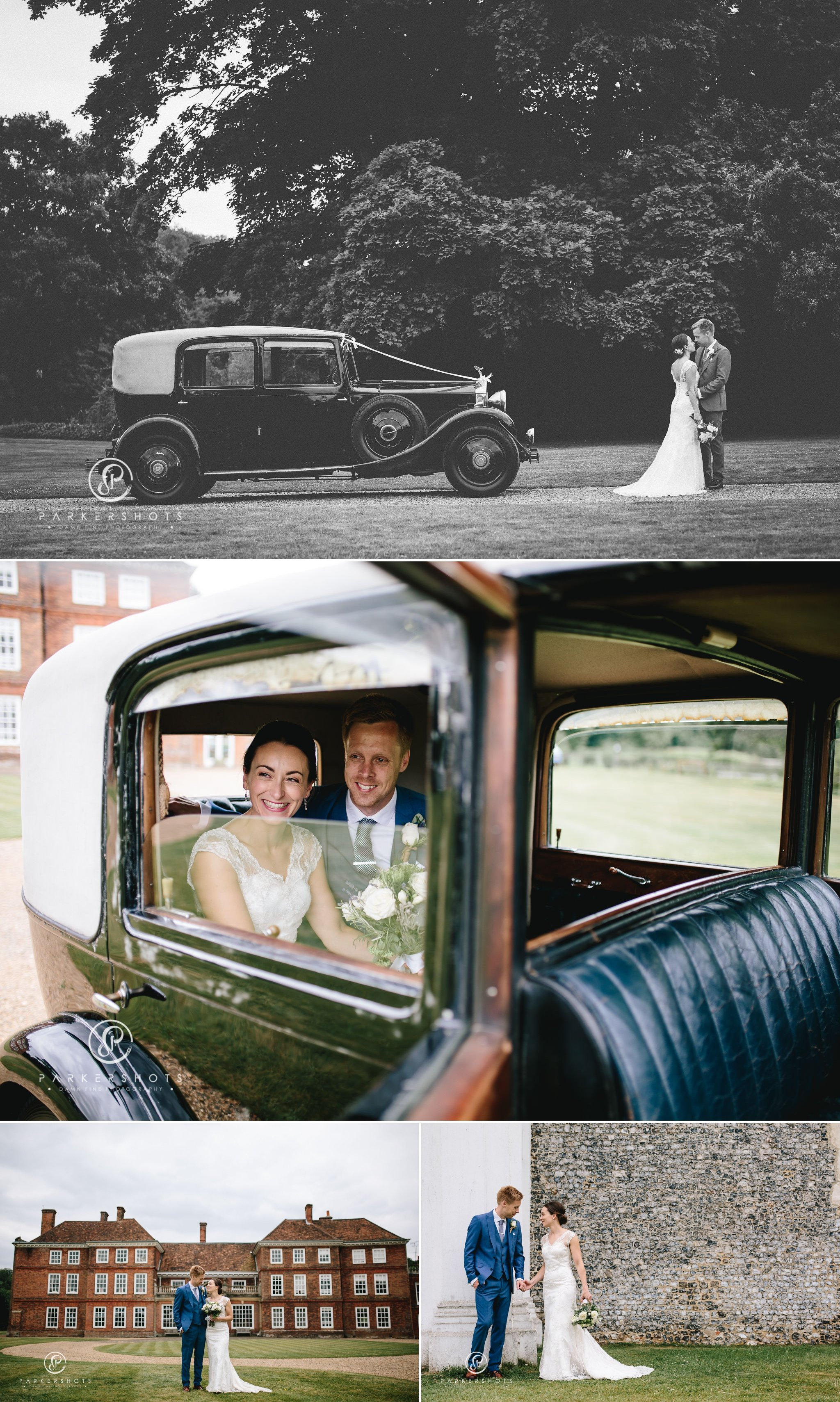 Portraits of bride and groom by Lullingstone Castle wedding photographer