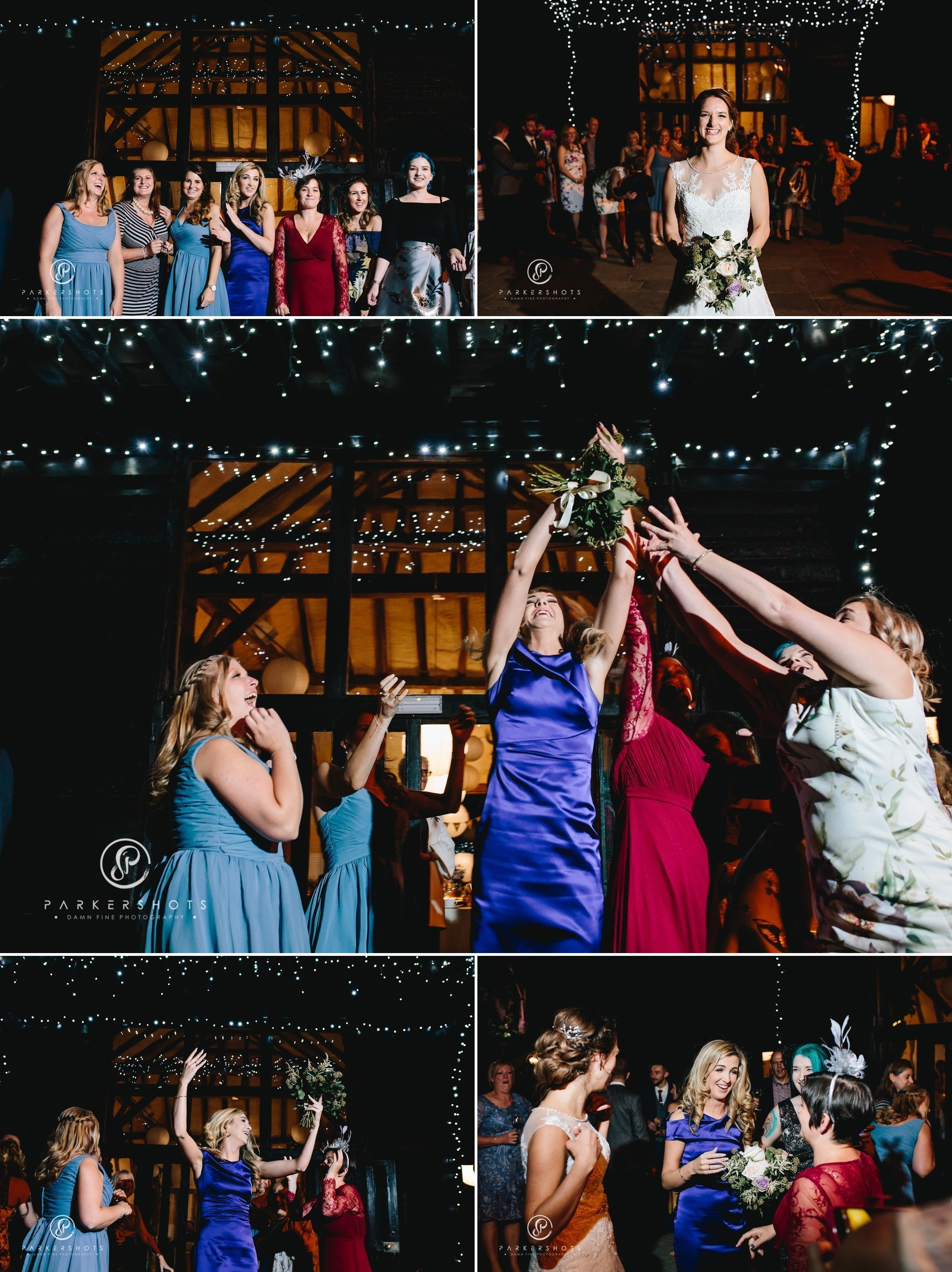 Catching the bouquet at wedding at winters Barns