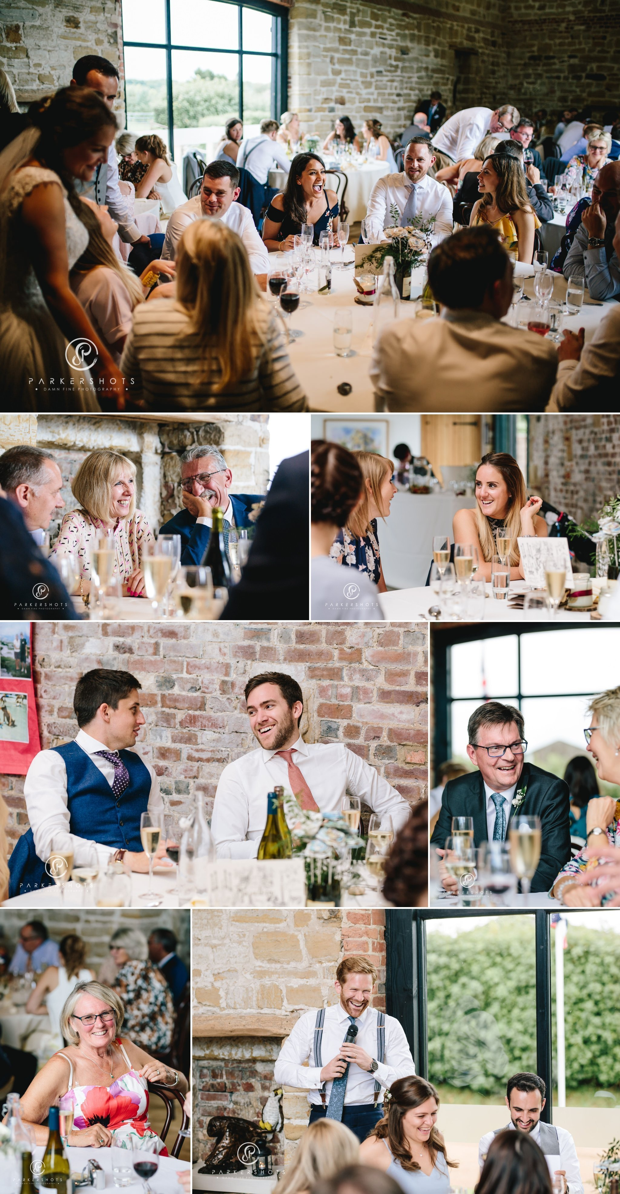The wedding speeches at wedding at Hendall Manor Barns