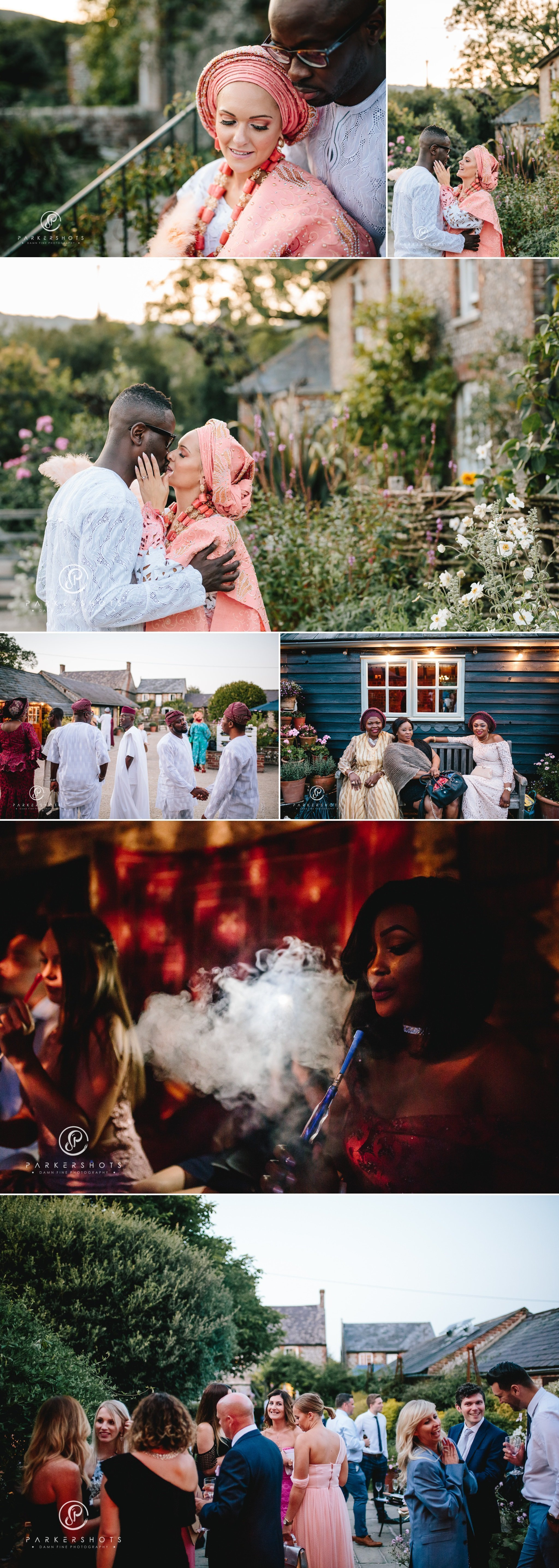 Evening portraits of bride and groom at Upwaltham Barns