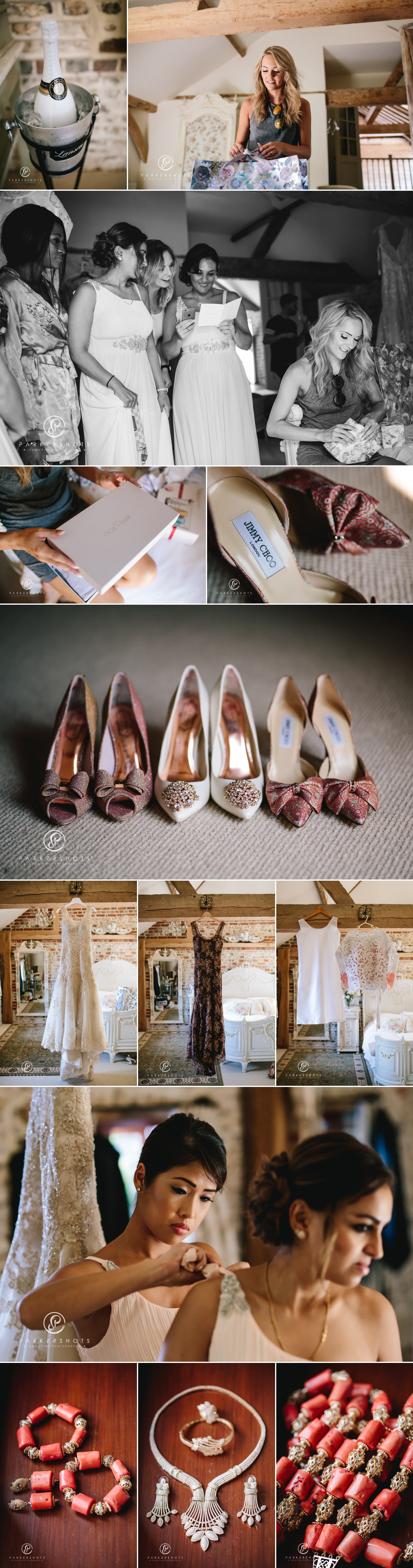 Bridal prep photography at Upwaltham Barns