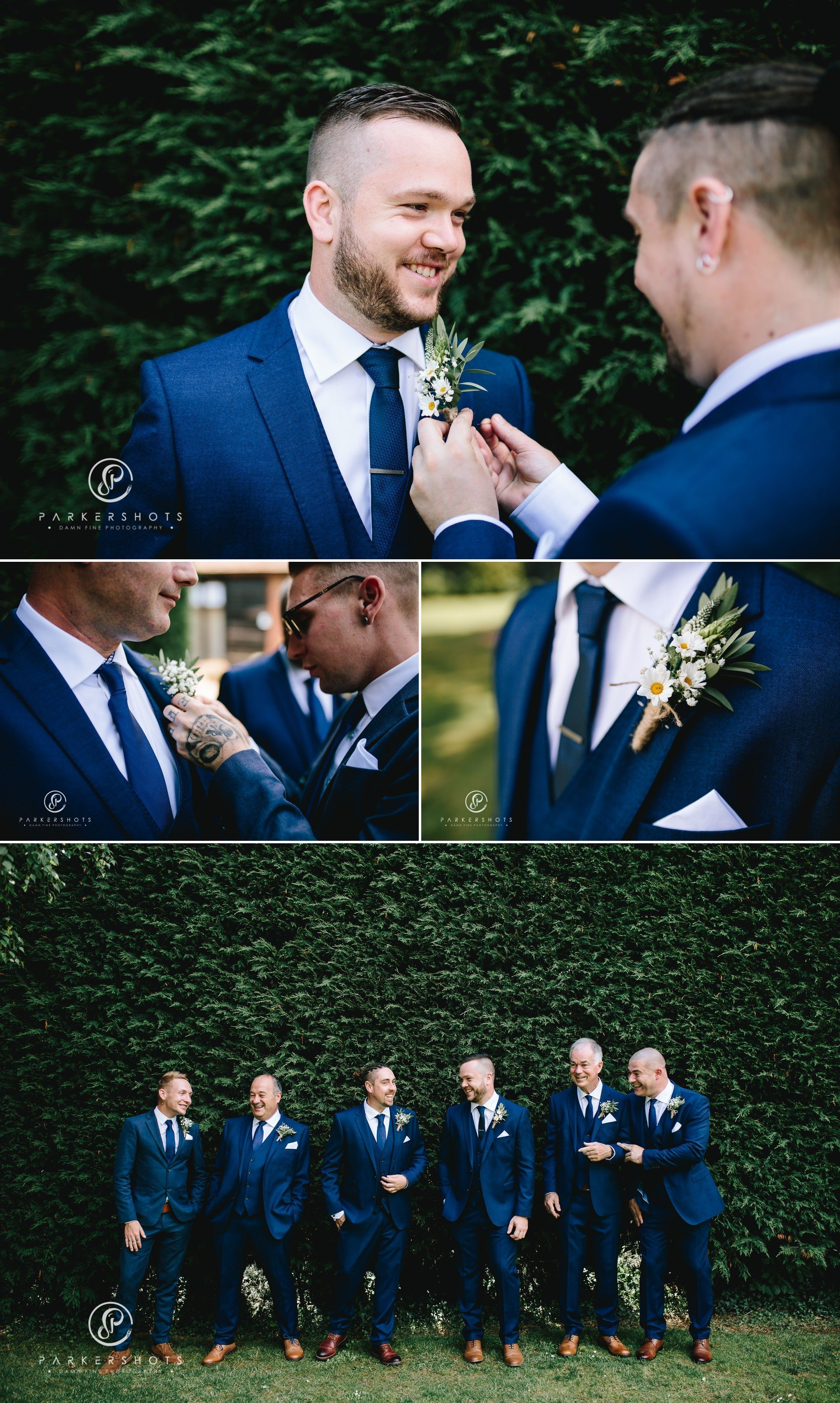 The groomsmen getting ready at Winters Barns