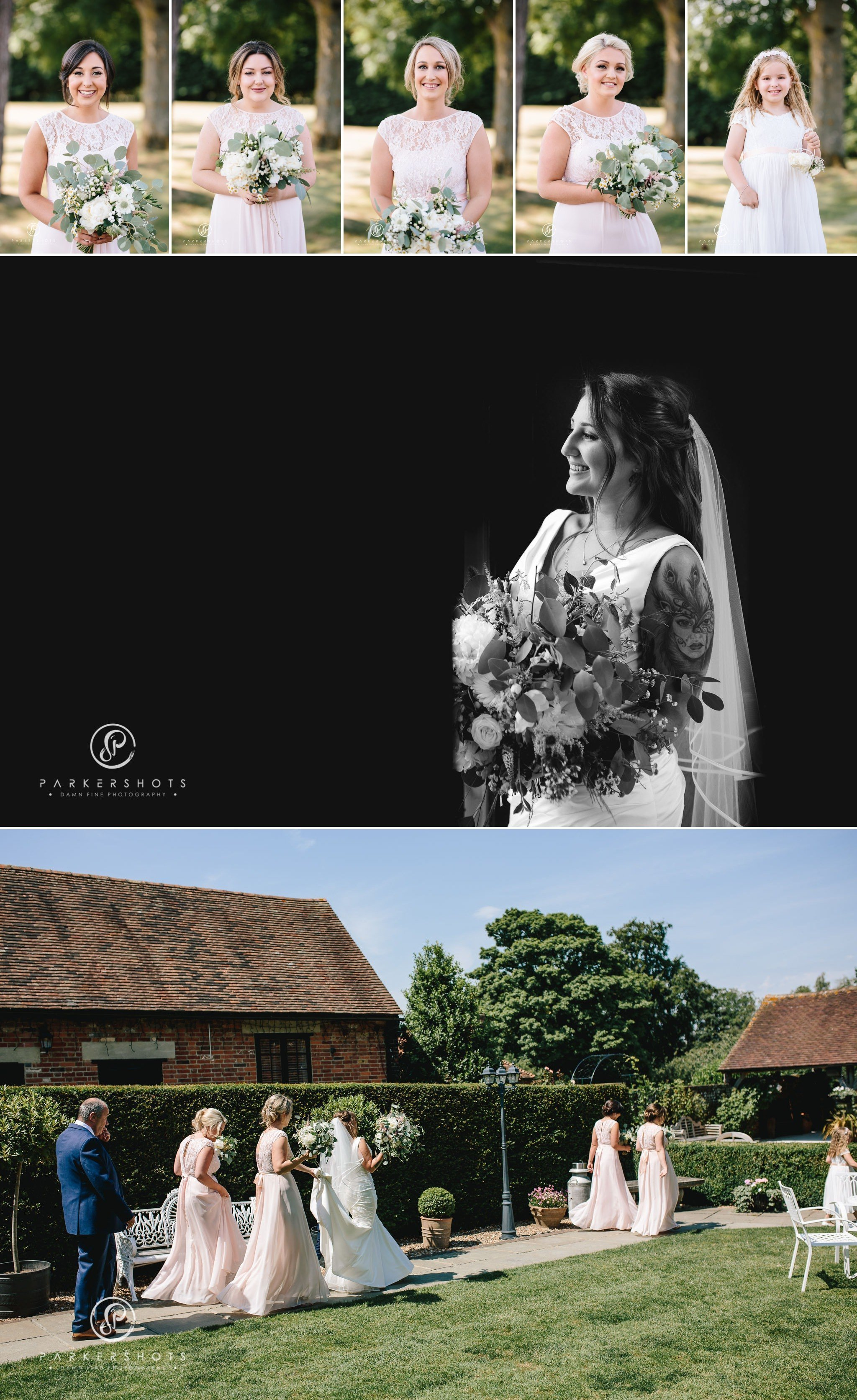 Portraits of bridesmaids and bride at Winters Barns