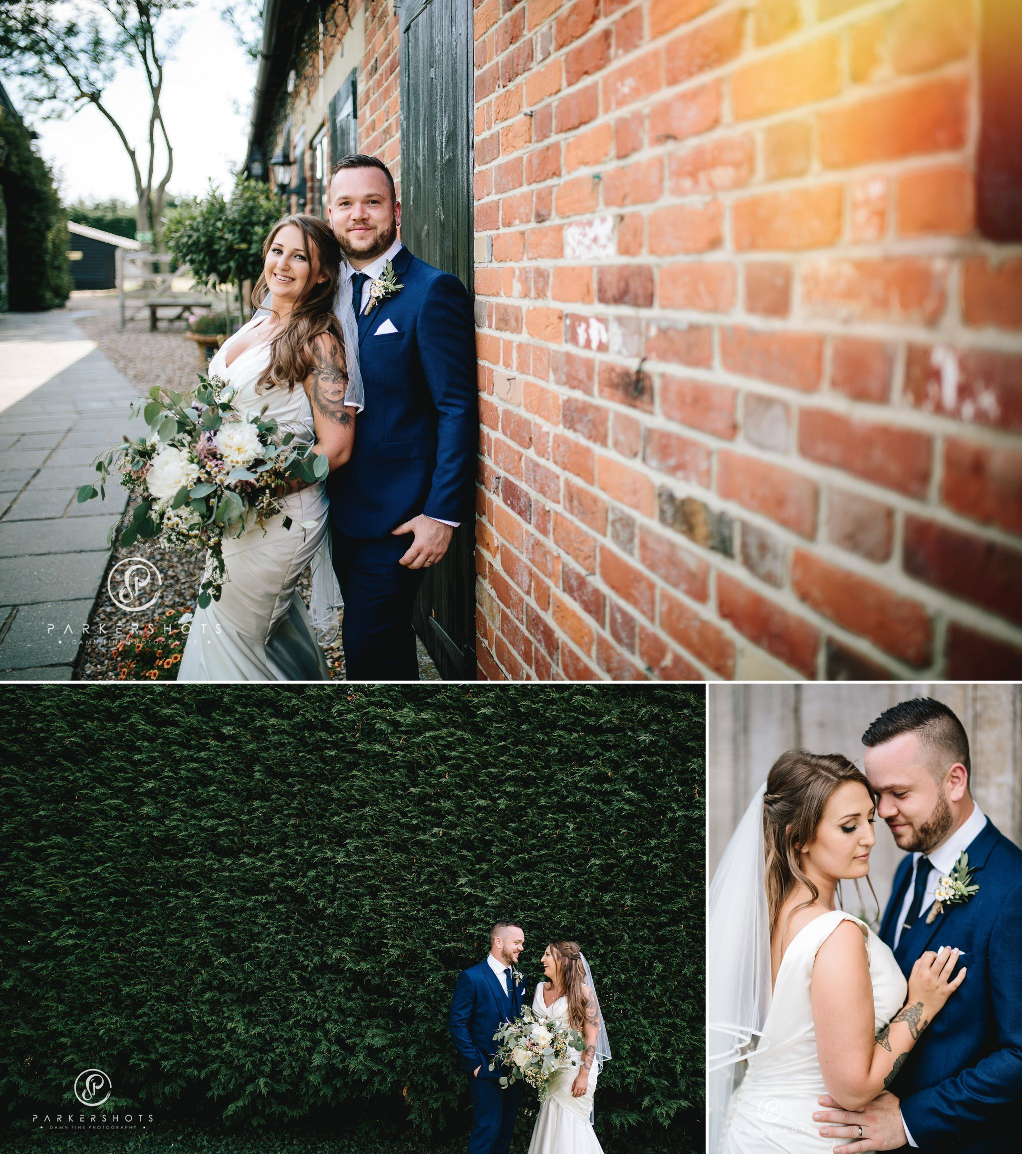 Alternative wedding photography of bride and groom at Winters Barns