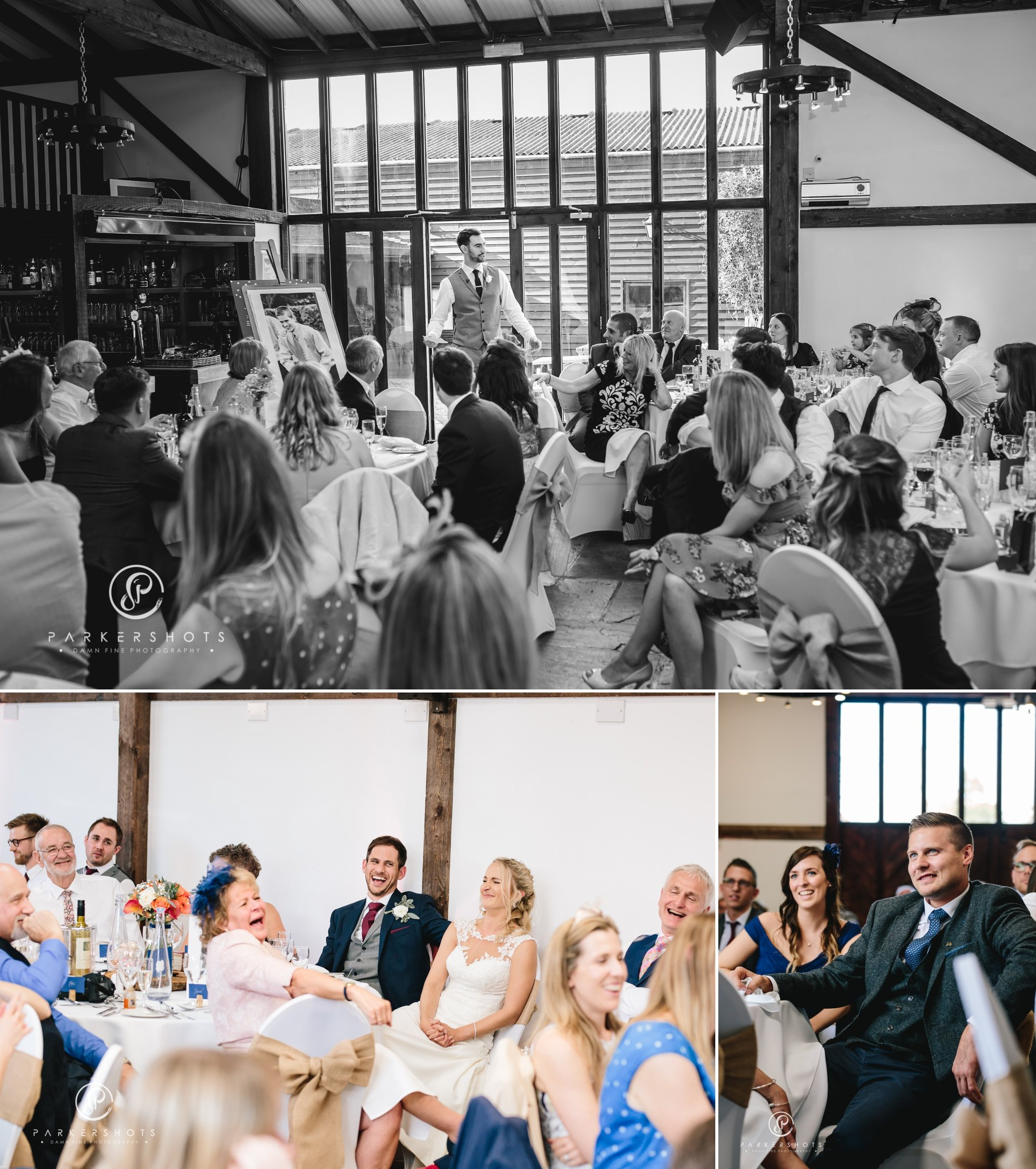 wedding photography of speeches at Blackstock Country Estate