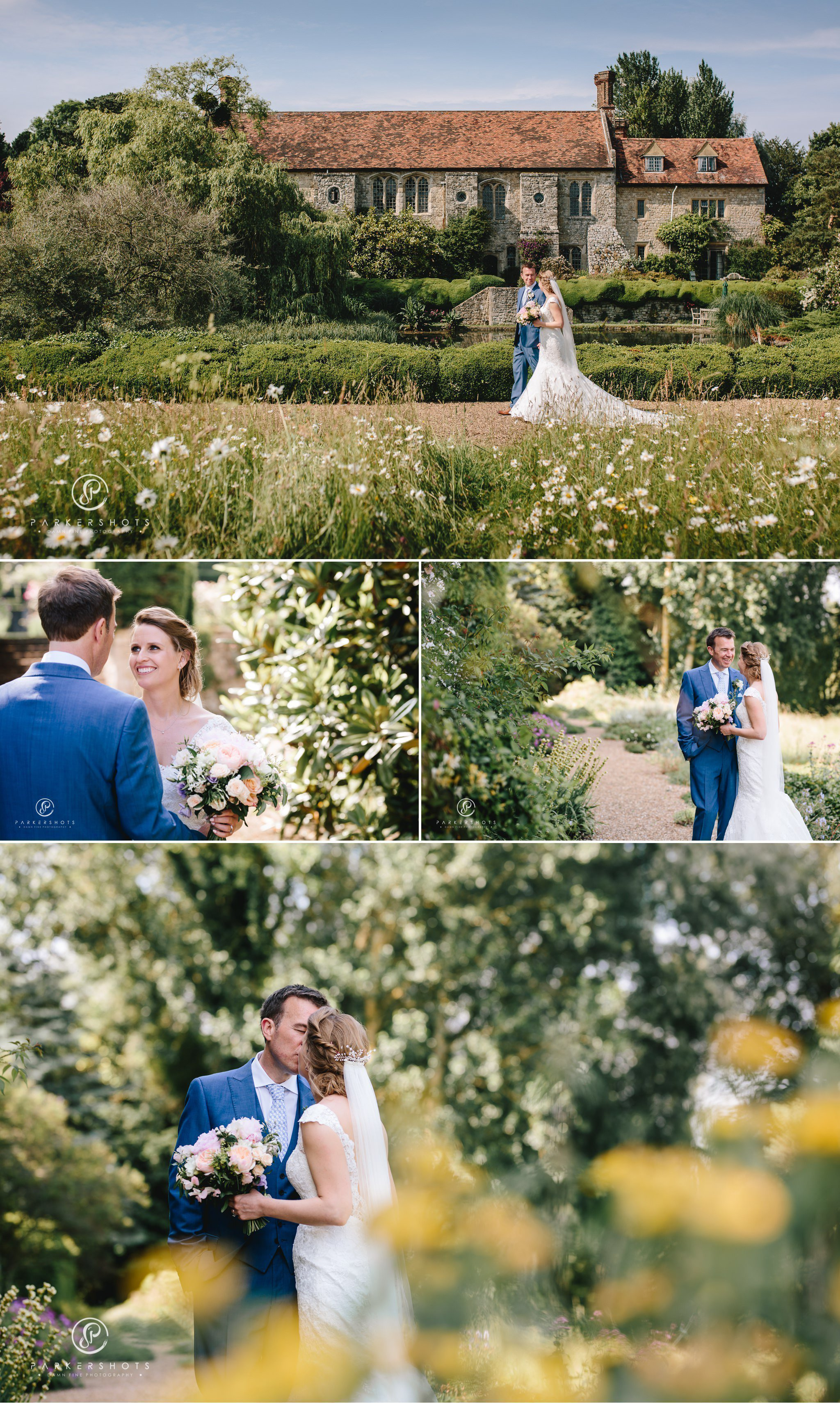 Portraits of bride and groom at Nettlestead Place by Kent Wedding Photographer Parkershots