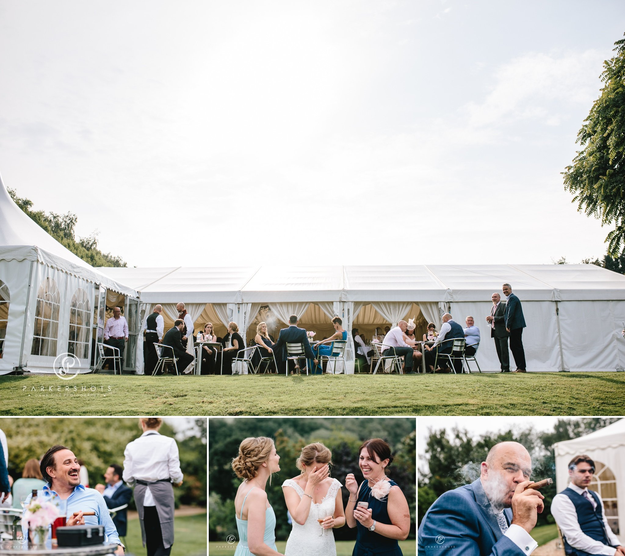Wedding guests enjoying themselves at Nettlestead Place
