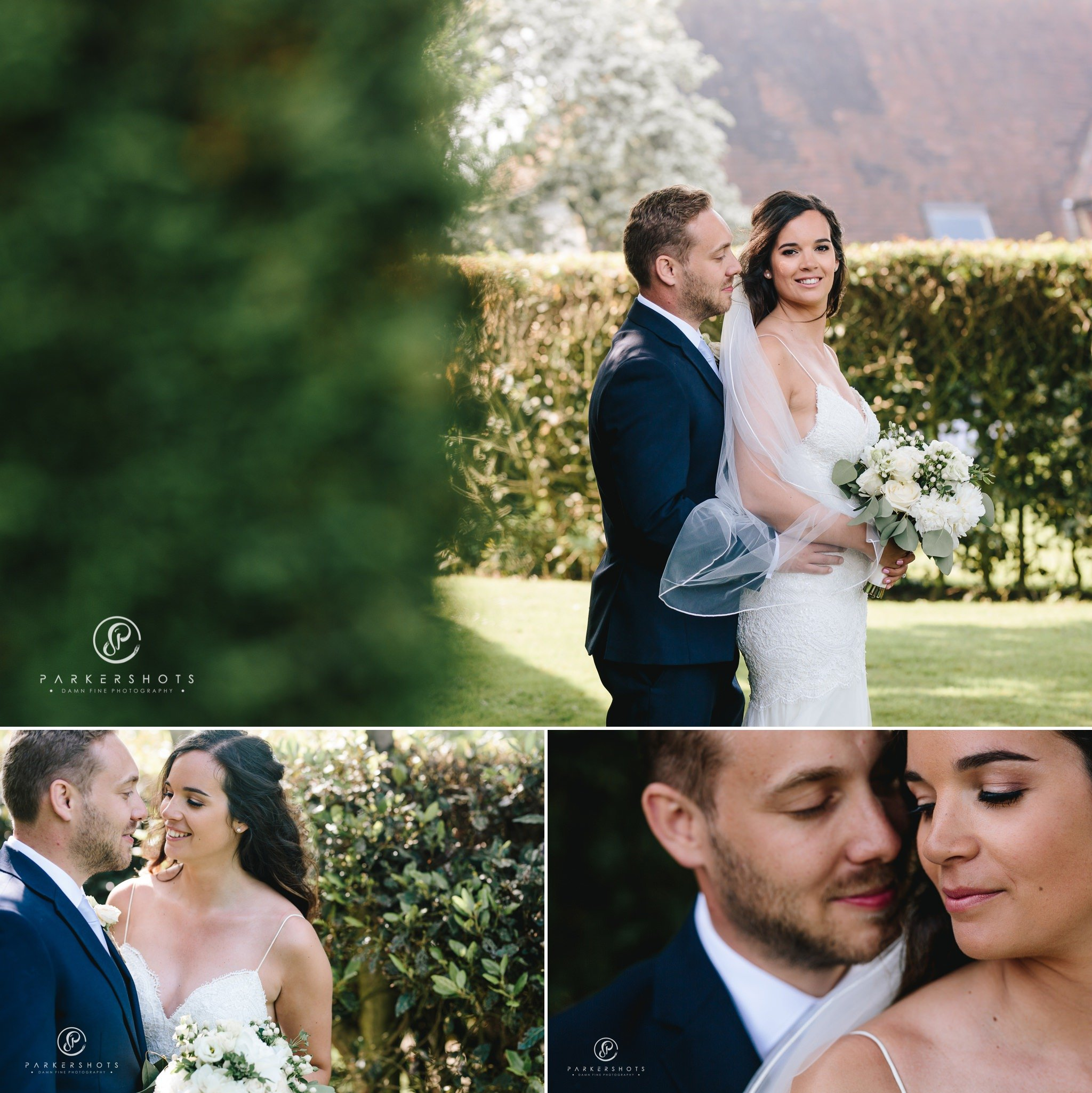 Old kent barn wedding photographer - bride and groom portraits