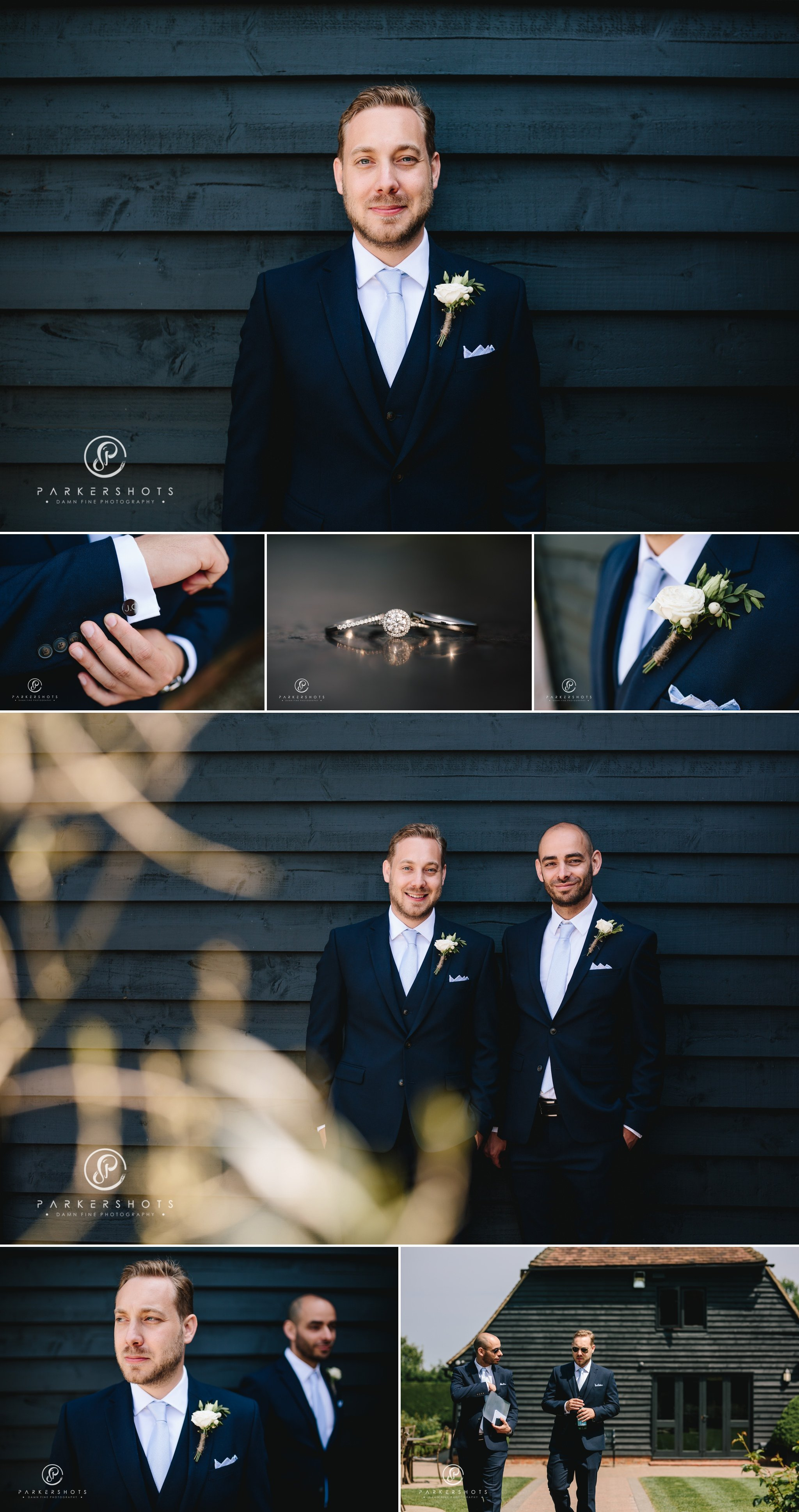 Old Kent Barn wedding photographer - groom portraits