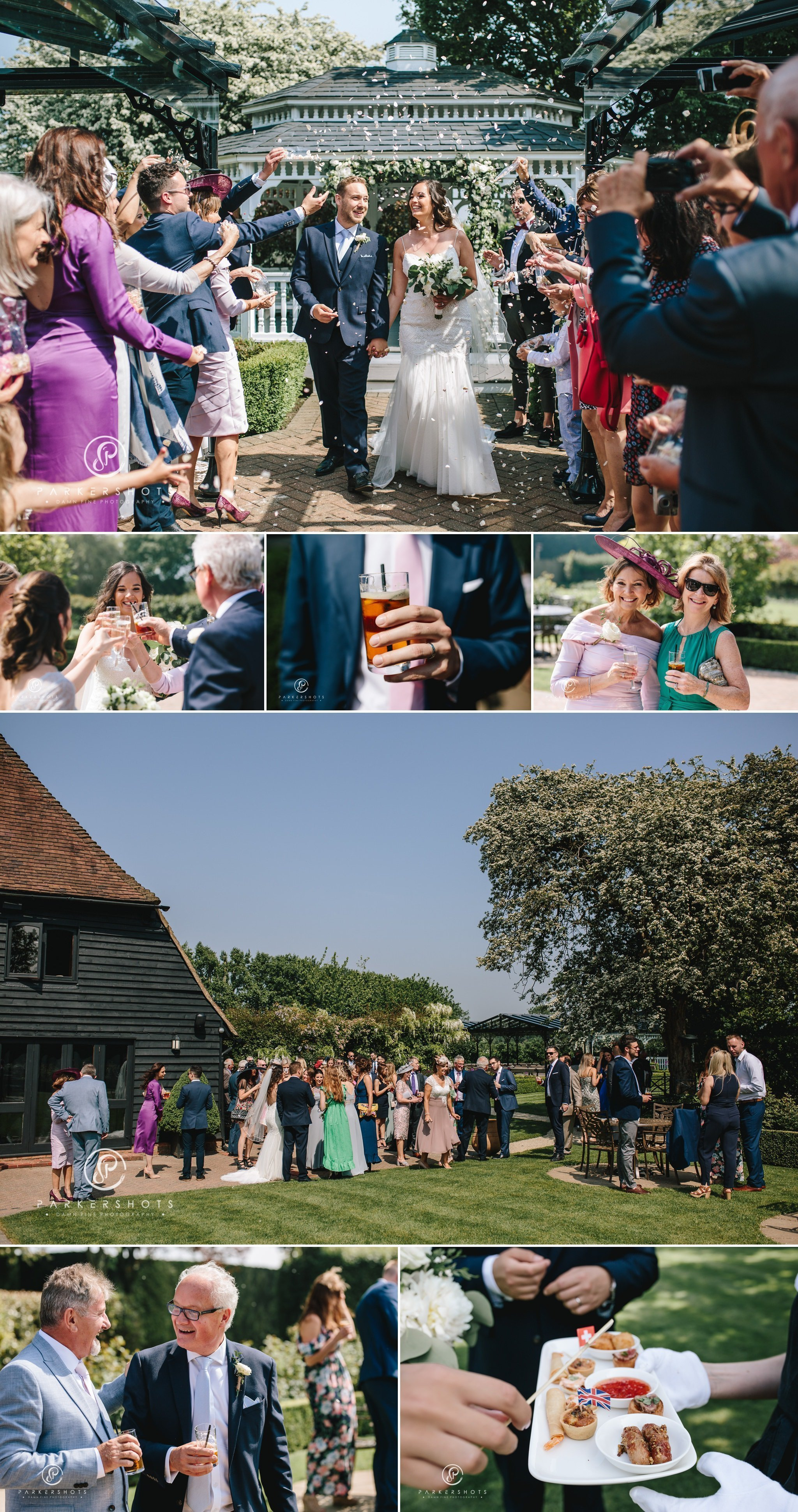 Old kent barn wedding photographer - post ceremony celebrations