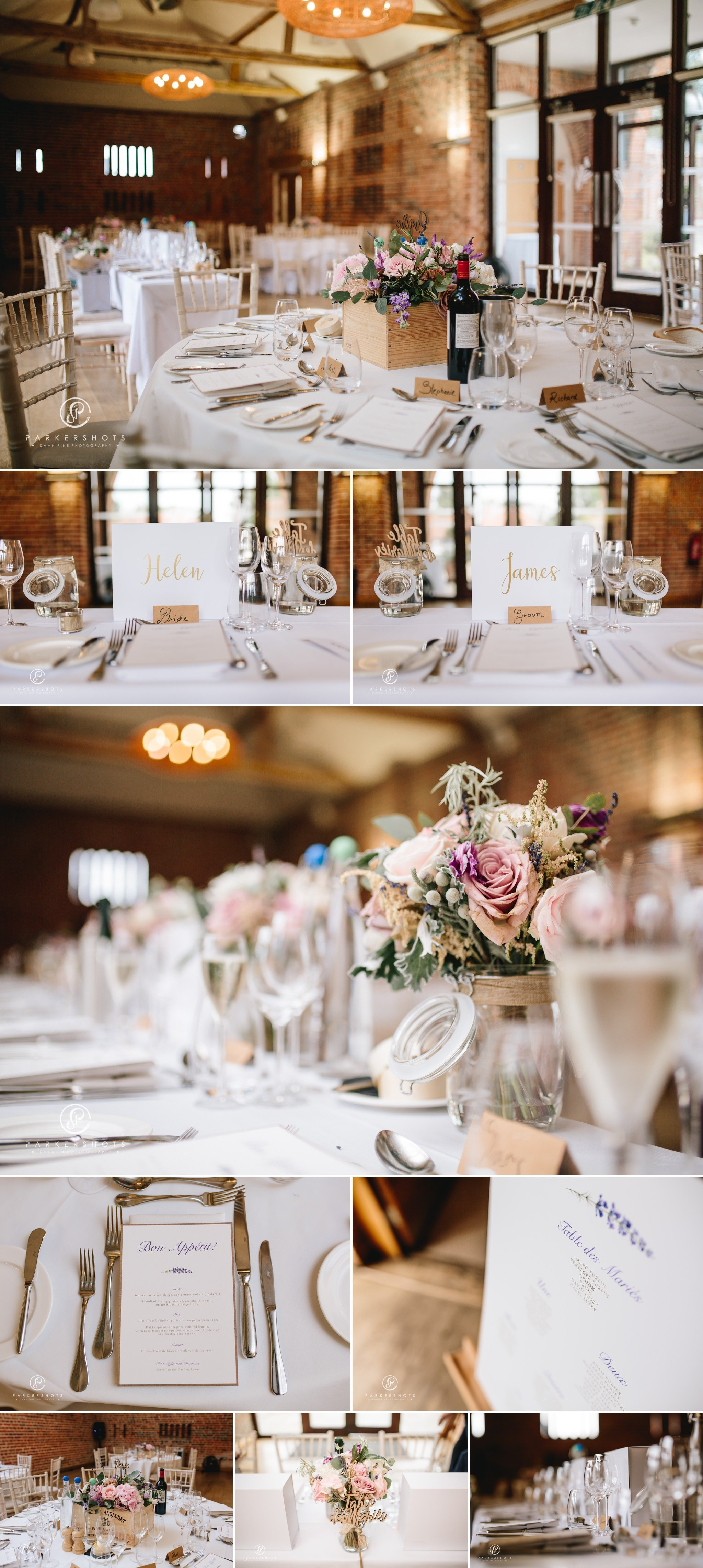 wedding breakfast room by Wasing Park Wedding Photographer