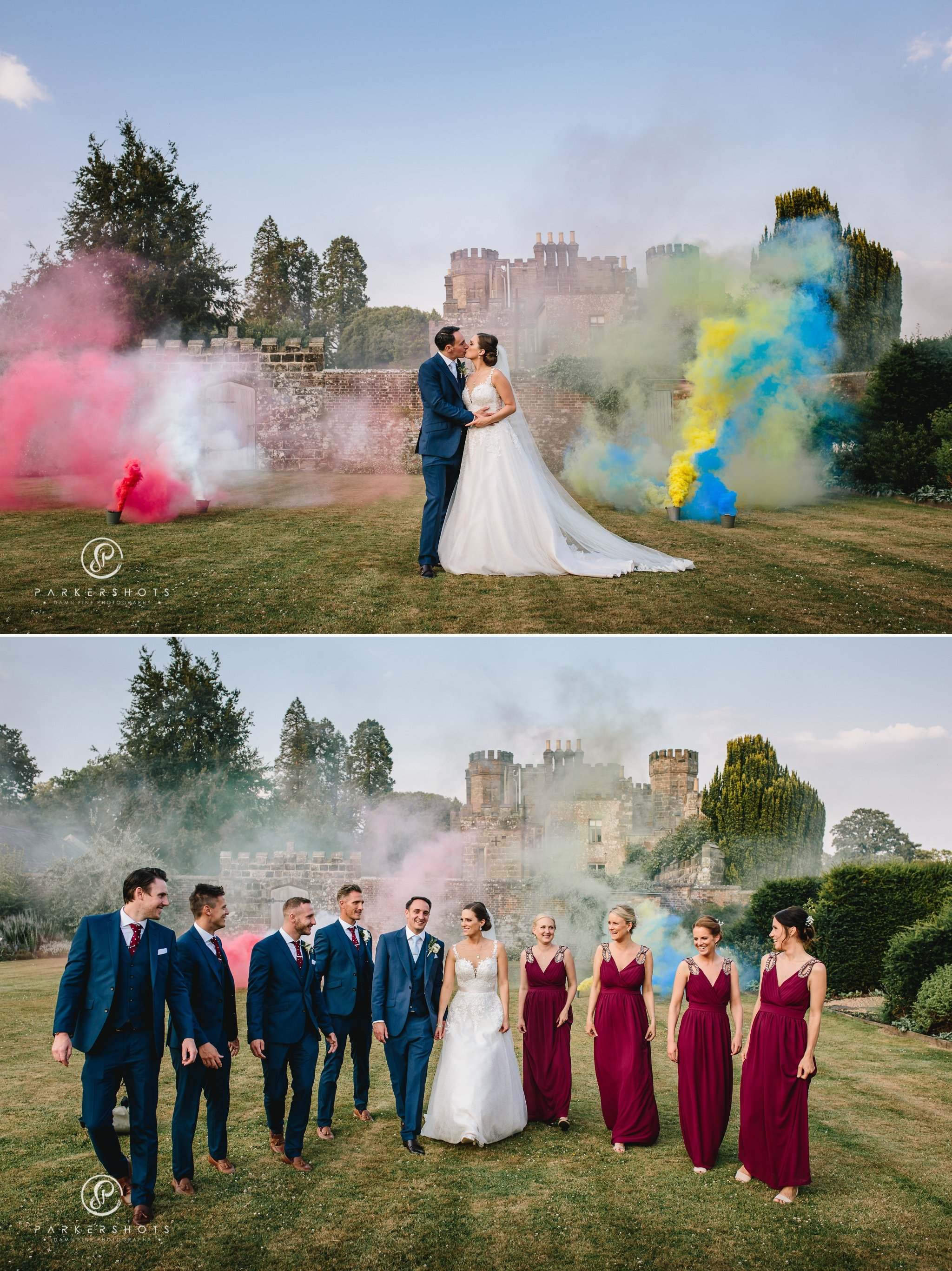 Wadhurst Castle Wedding Photographer - Portraits of couple in grounds of Wadhurst Castle with wedding party